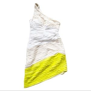 BEBE one should formal cream and lime mini dress